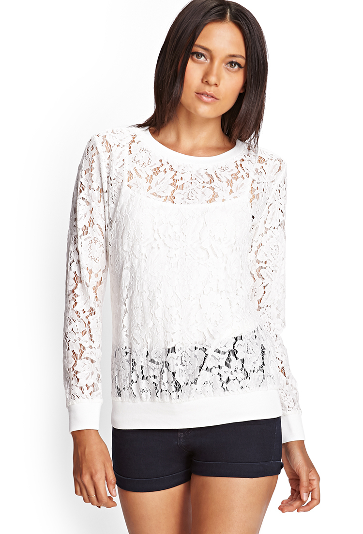 Forever 21 Sheer Floral Lace Top in White | Lyst
