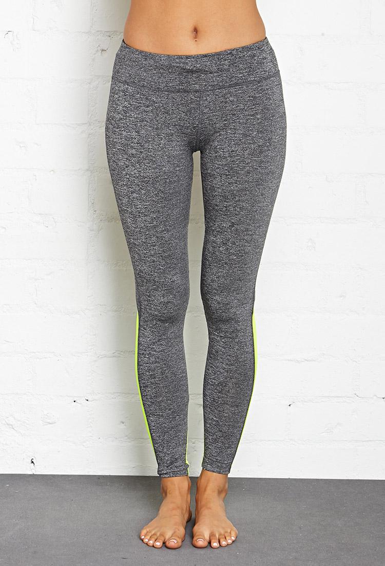 forever 21 mesh paneled sport leggings in gray lyst. Black Bedroom Furniture Sets. Home Design Ideas