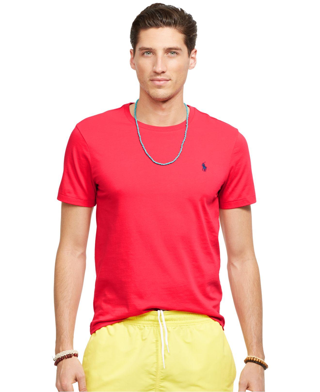 Polo ralph lauren custom fit jersey t shirt in red for men for Polo custom fit t shirts