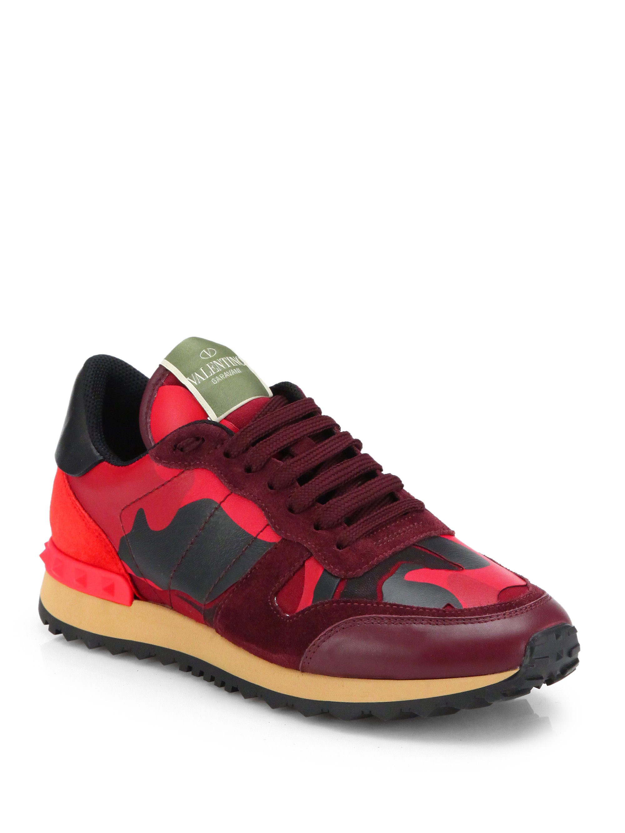 Lyst Valentino Camouflage Leather Amp Suede Sneakers In Red