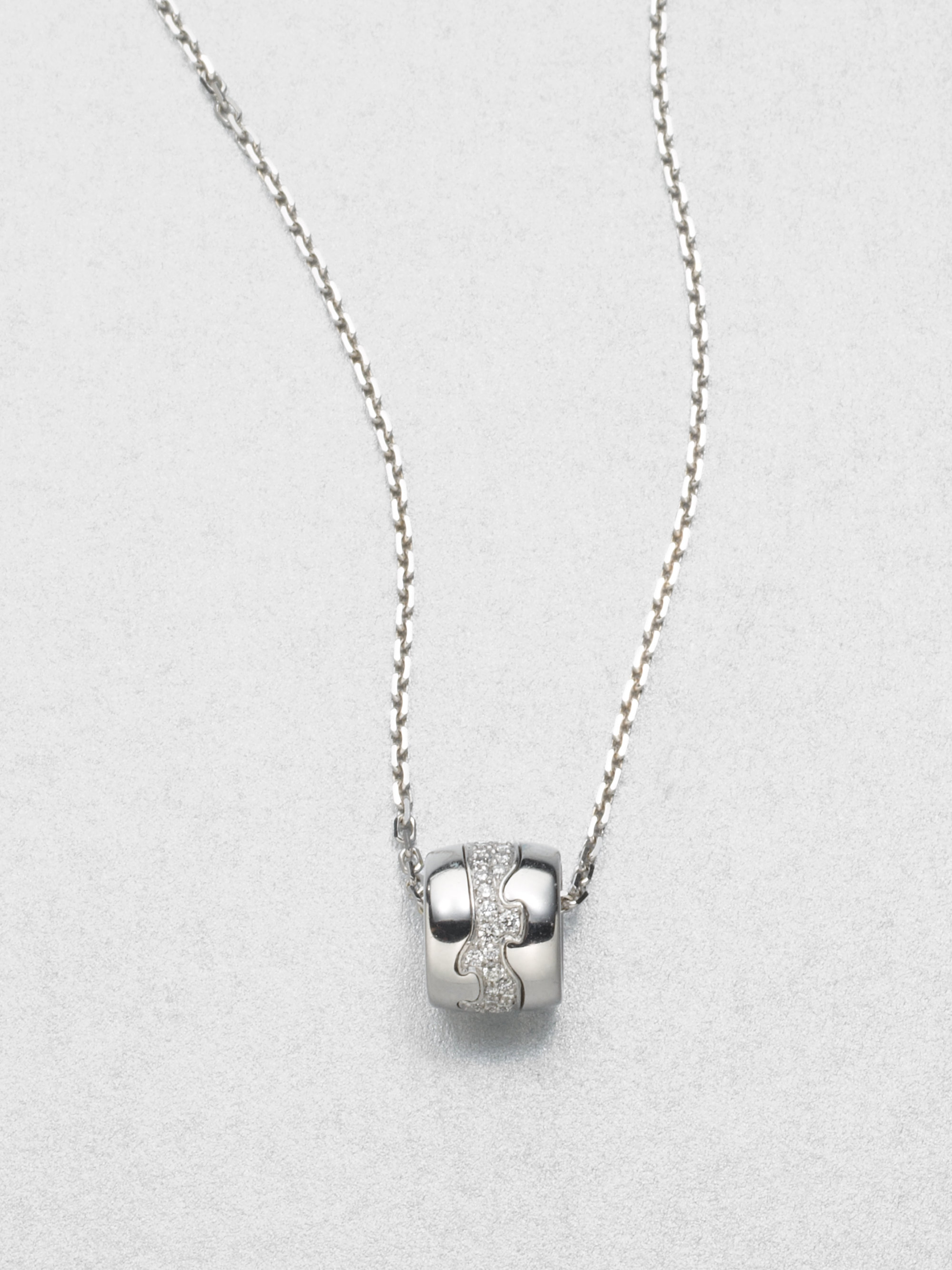 Lyst georg jensen diamond and 18k white gold necklace in metallic gallery aloadofball Images