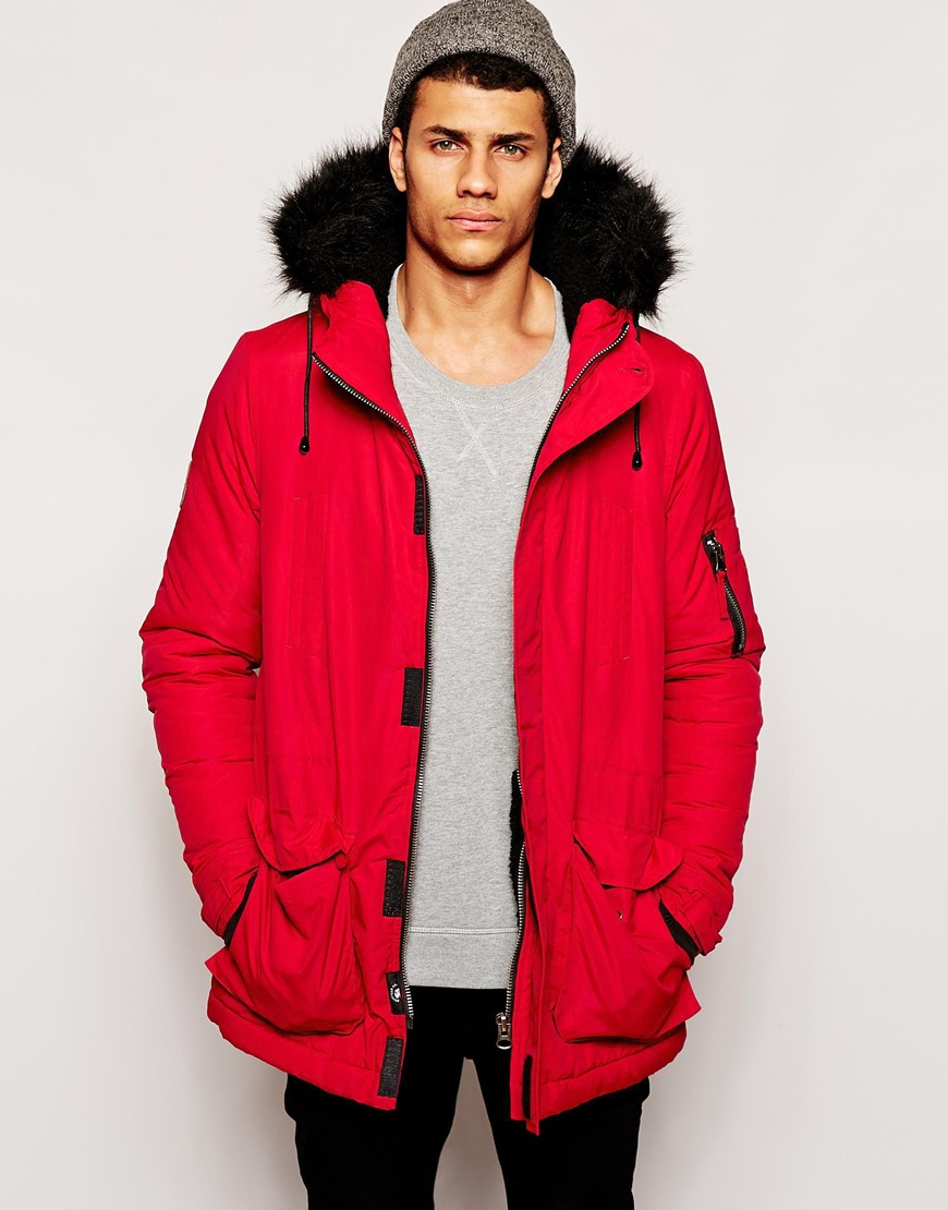 Bellfield Arctic Parka With Faux Fur Hood in Red for Men | Lyst