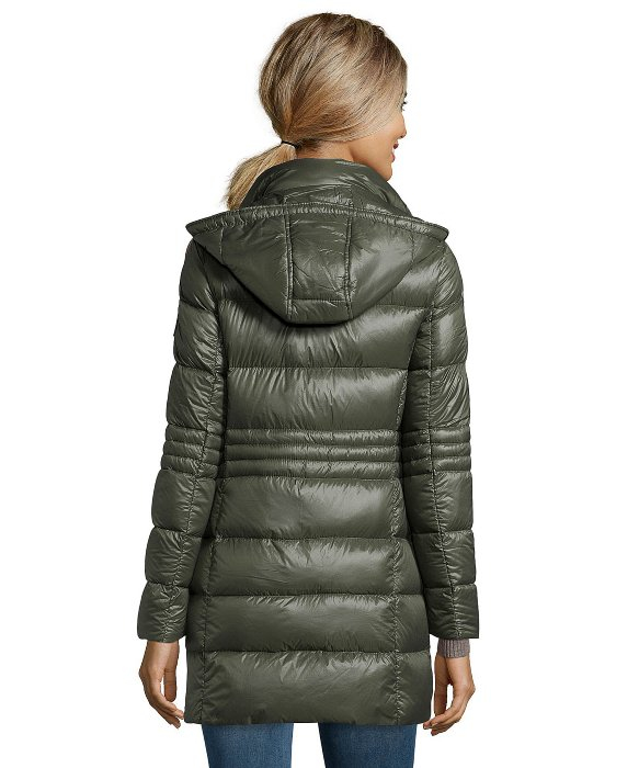 Dkny Olive Green Quilted 3/4 Length Packable Down Jacket in Green ...