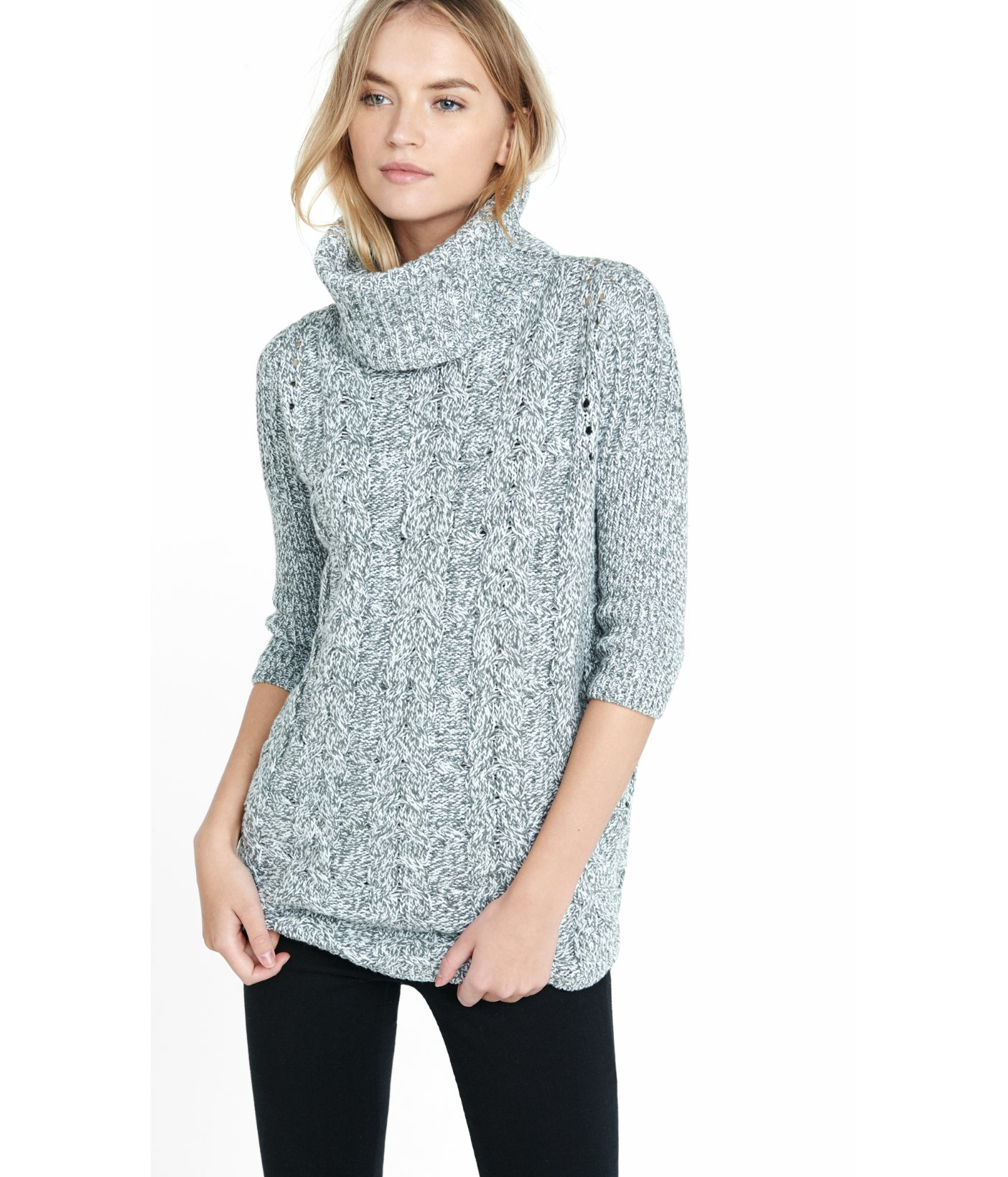 Express Marled Cable Turtleneck Tunic Sweater in Gray | Lyst