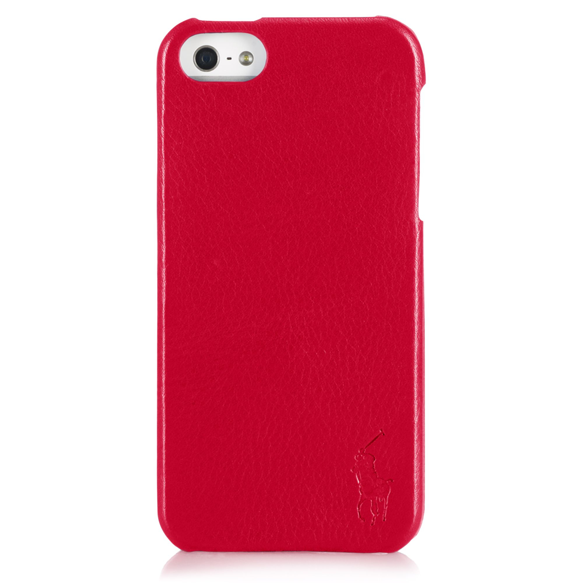 Ralph Lauren Pebbled Leather Hard Phone Case In Red For
