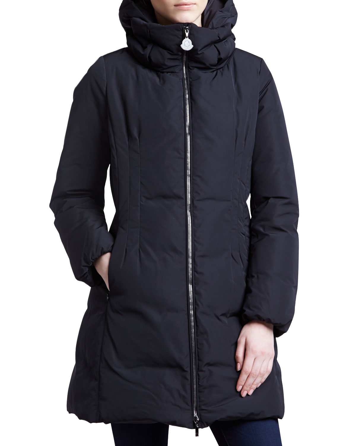 Lyst Moncler Long Puffer Coat With Hood Black In Black