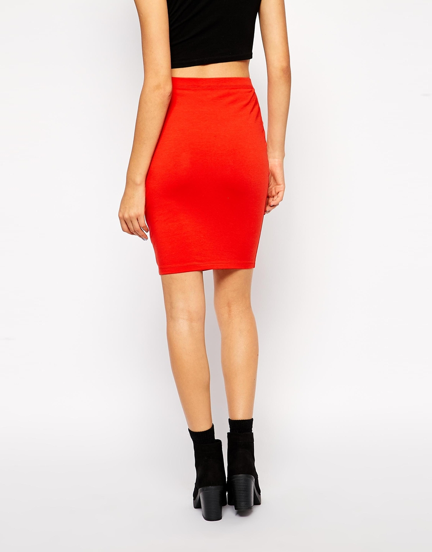 f5475a03eab6 ASOS Knee Length Pencil Skirt In Jersey in Red - Lyst
