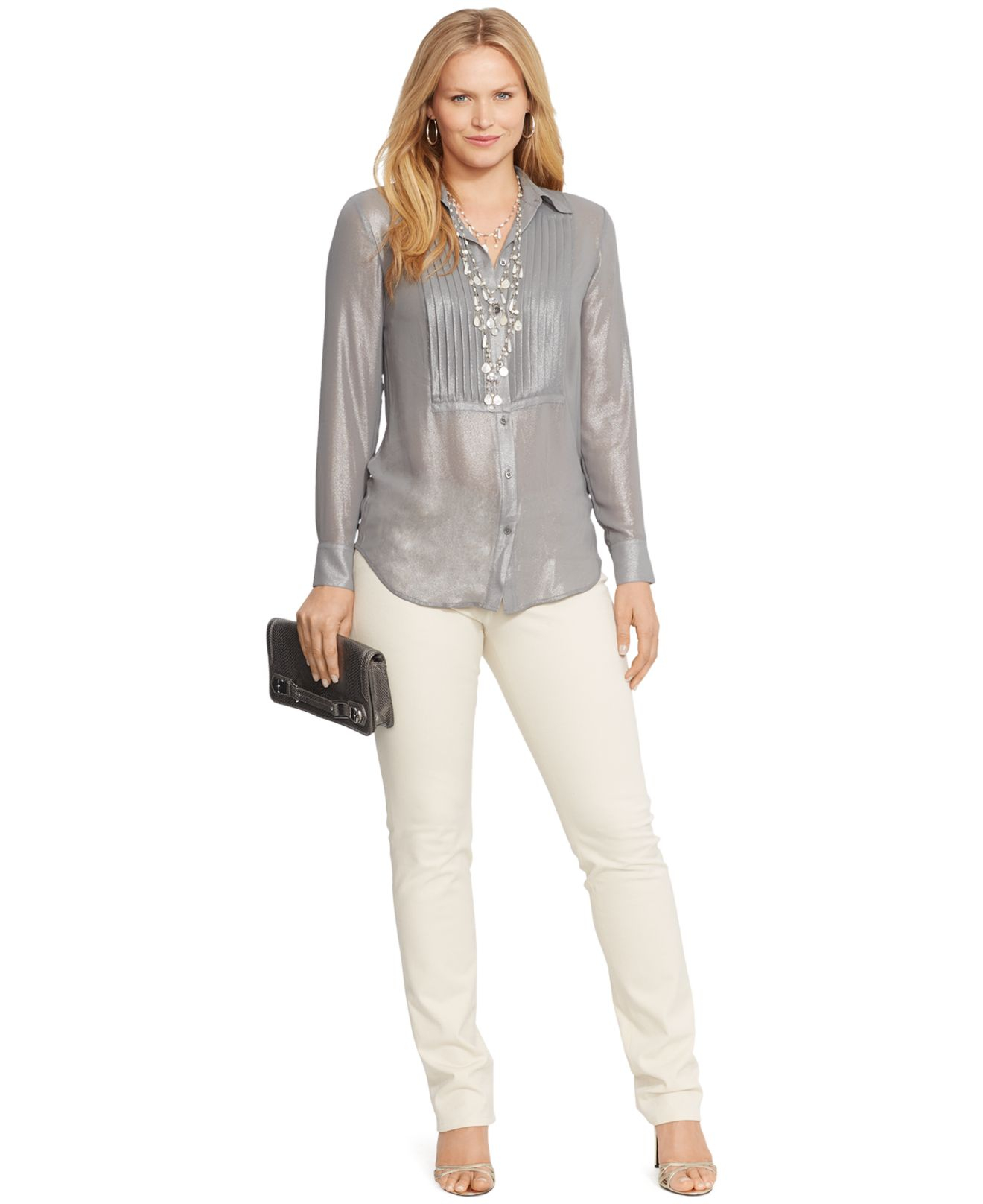 Lauren by ralph lauren plus size metallic pintucked shirt for Tucked in shirt plus size