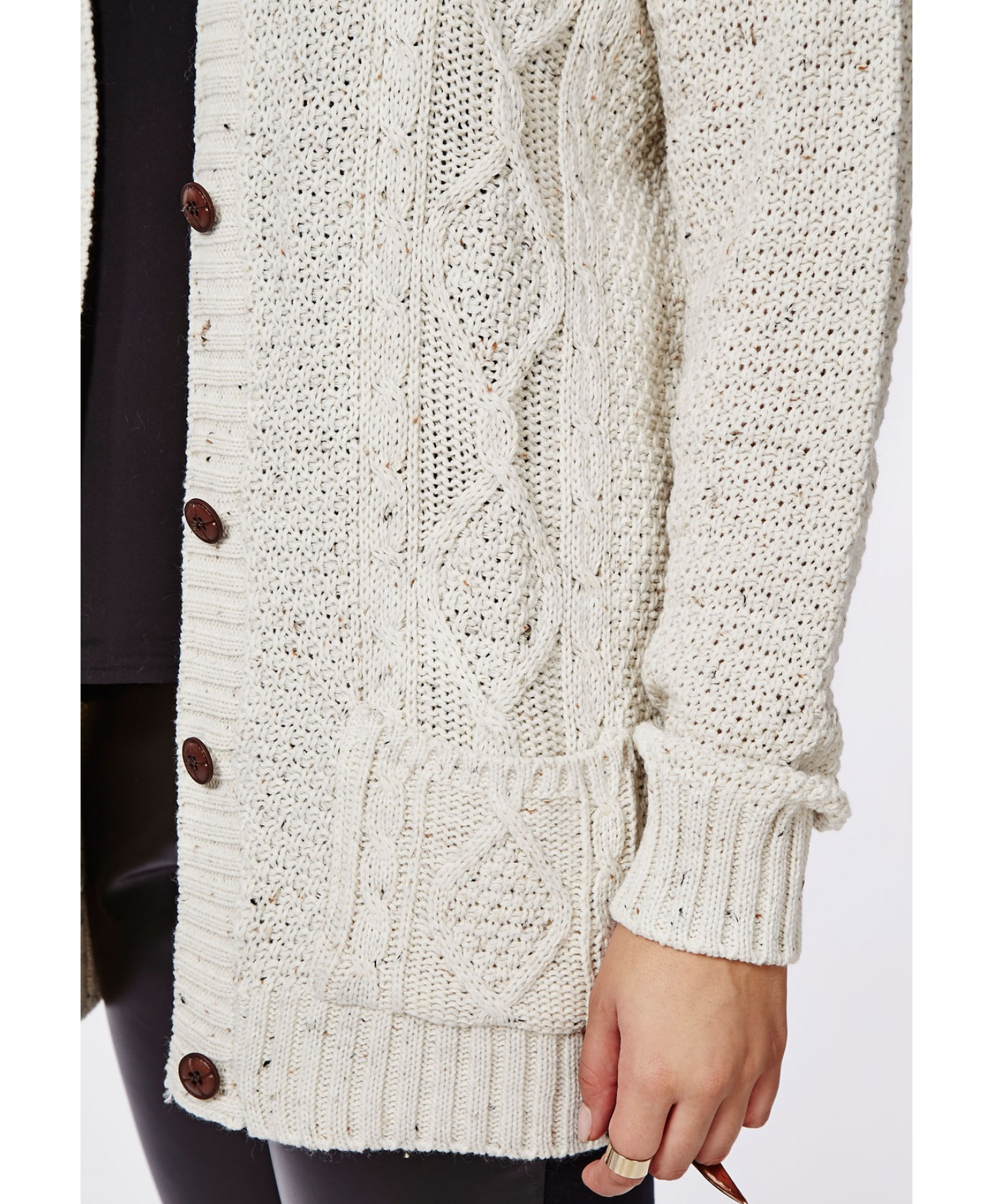 Missguided Plus Size Longline Chunky Knit Cardigan Cream In Natural