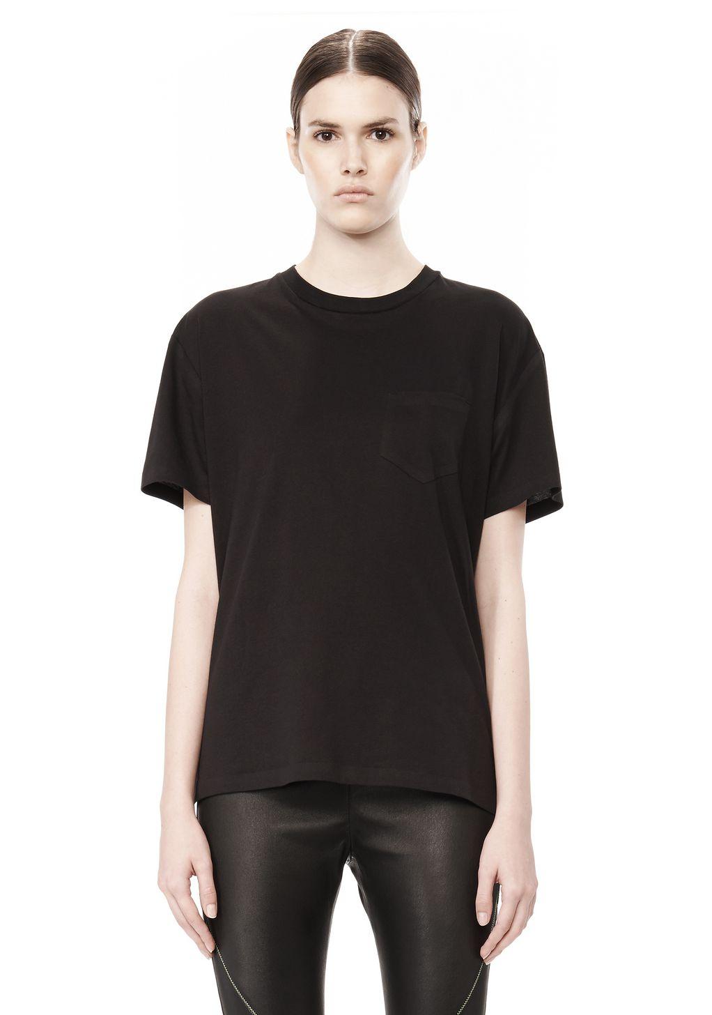 Lyst alexander wang cotton jersey welded tee in black for Alexander wang t shirt women