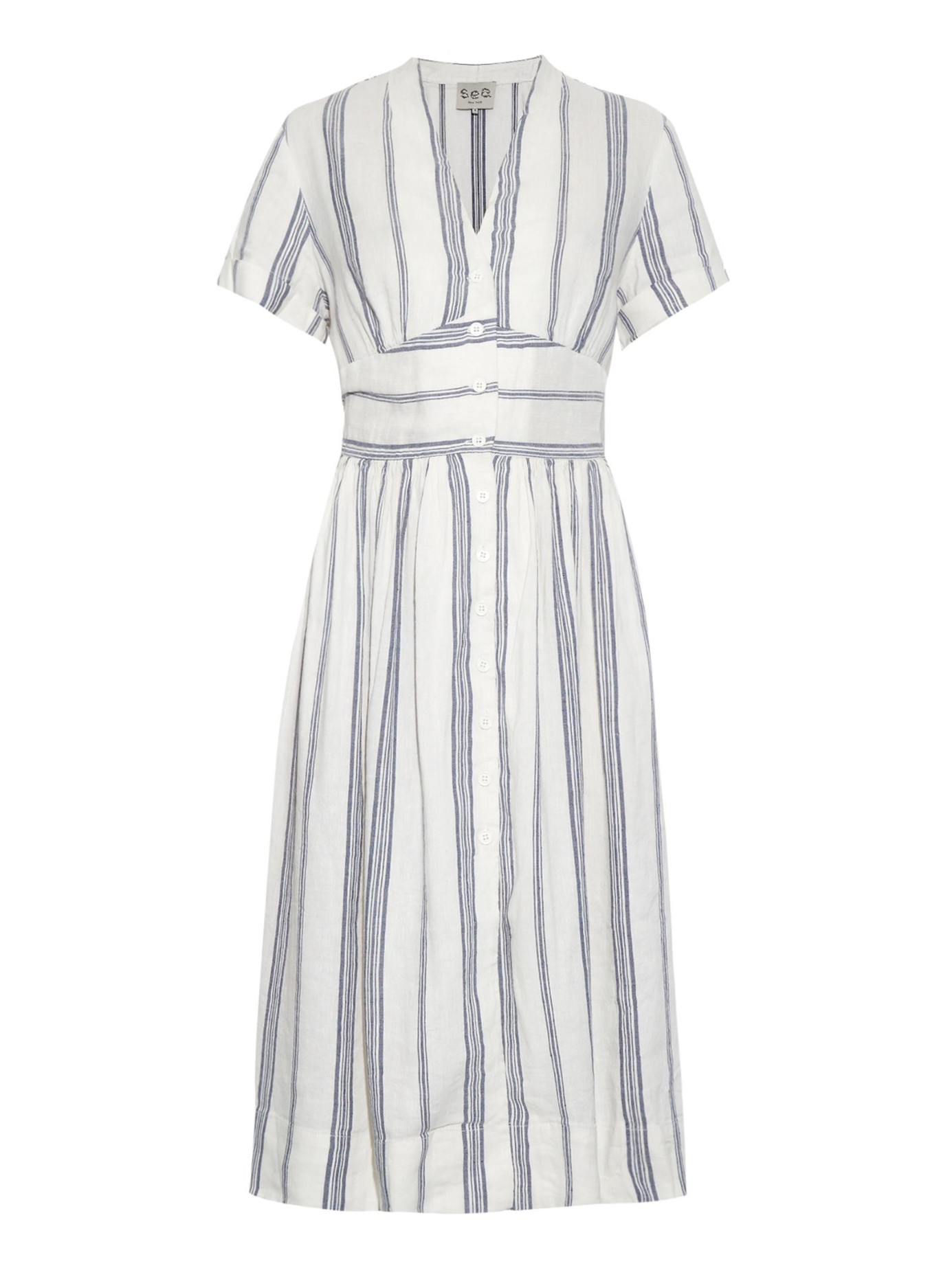 8d15d343f Sea Striped Linen-Blend Dress - Lyst