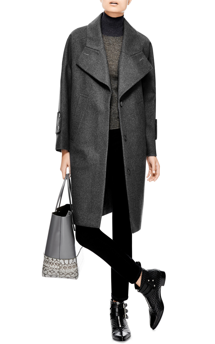 Carven Oversized Felted-Wool Coat in Gray | Lyst