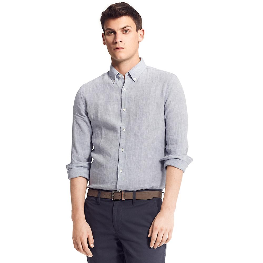 tommy hilfiger new york fit linen solid shirt in blue for. Black Bedroom Furniture Sets. Home Design Ideas