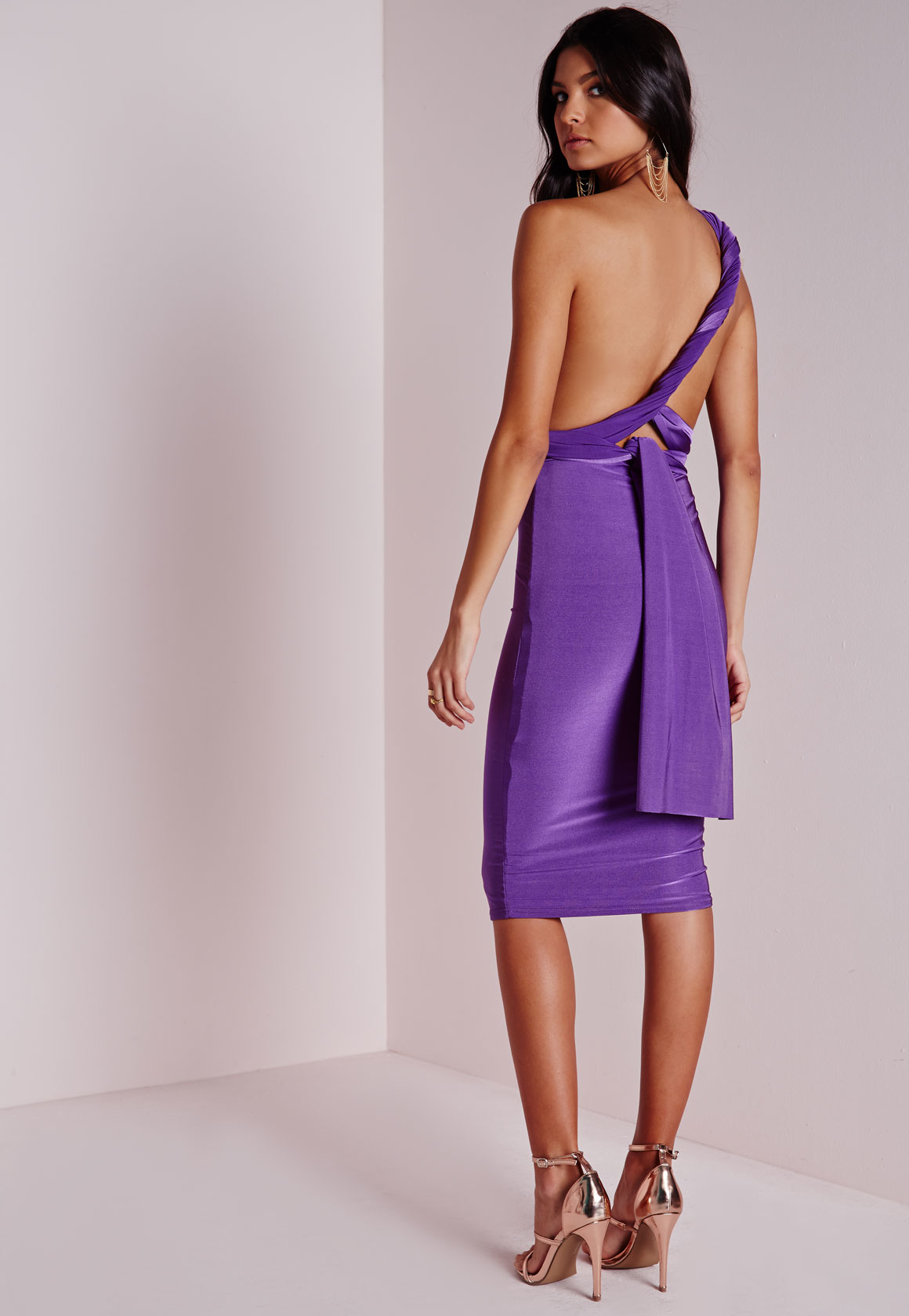 8ece75a933 Lyst - Missguided Do It Any Way Multiway Slinky Midi Dress Purple in ...