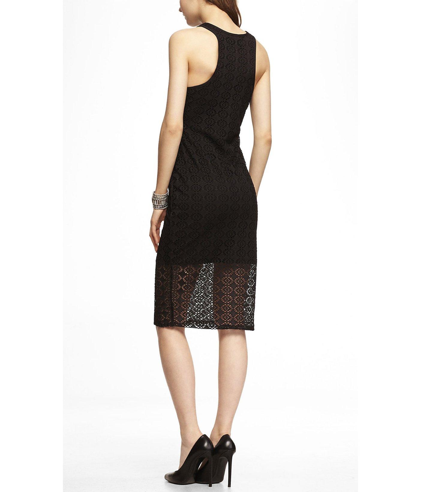 Lyst - Express Eyelet Midi Sheath Dress in Black