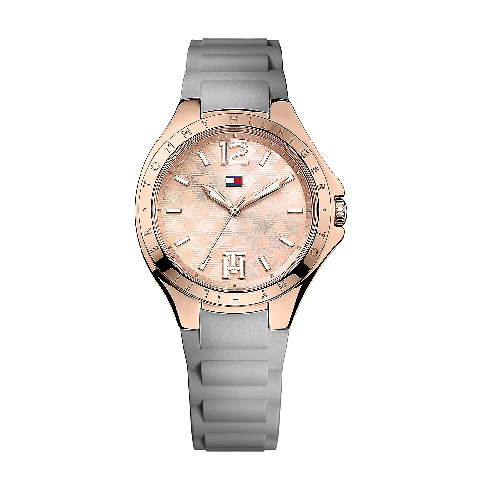 tommy hilfiger grey silicon strap rose gold face watch in. Black Bedroom Furniture Sets. Home Design Ideas