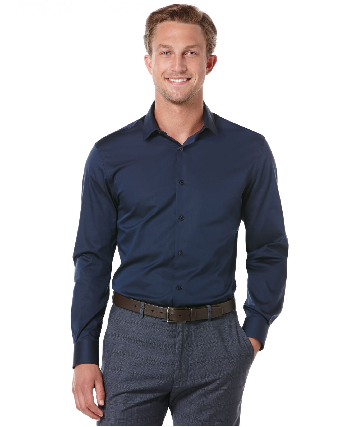 Perry ellis eclipse no iron shirt in blue for men lyst for No iron shirts mens