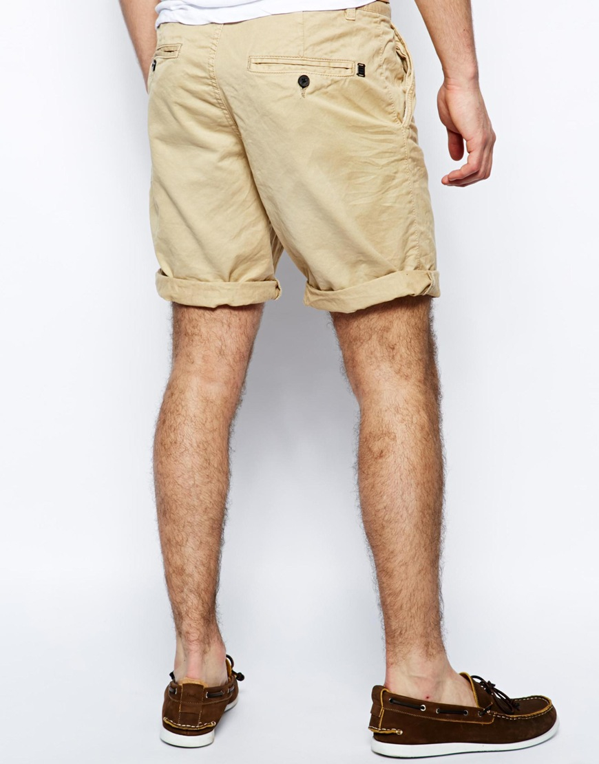 ef4757851f Pull&Bear Chino Style Bermuda Shorts in Natural for Men - Lyst
