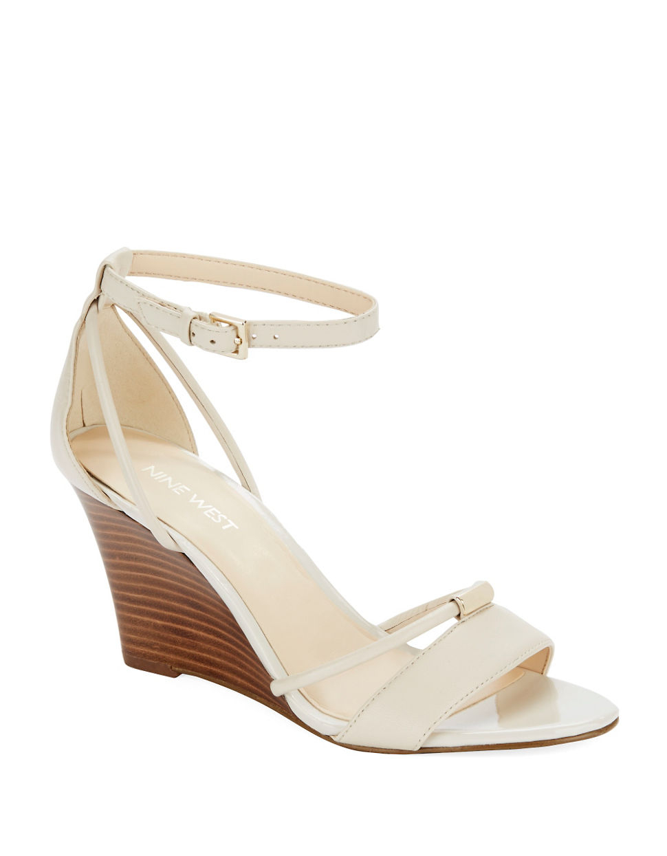 nine west fastness leather wedge sandals in white