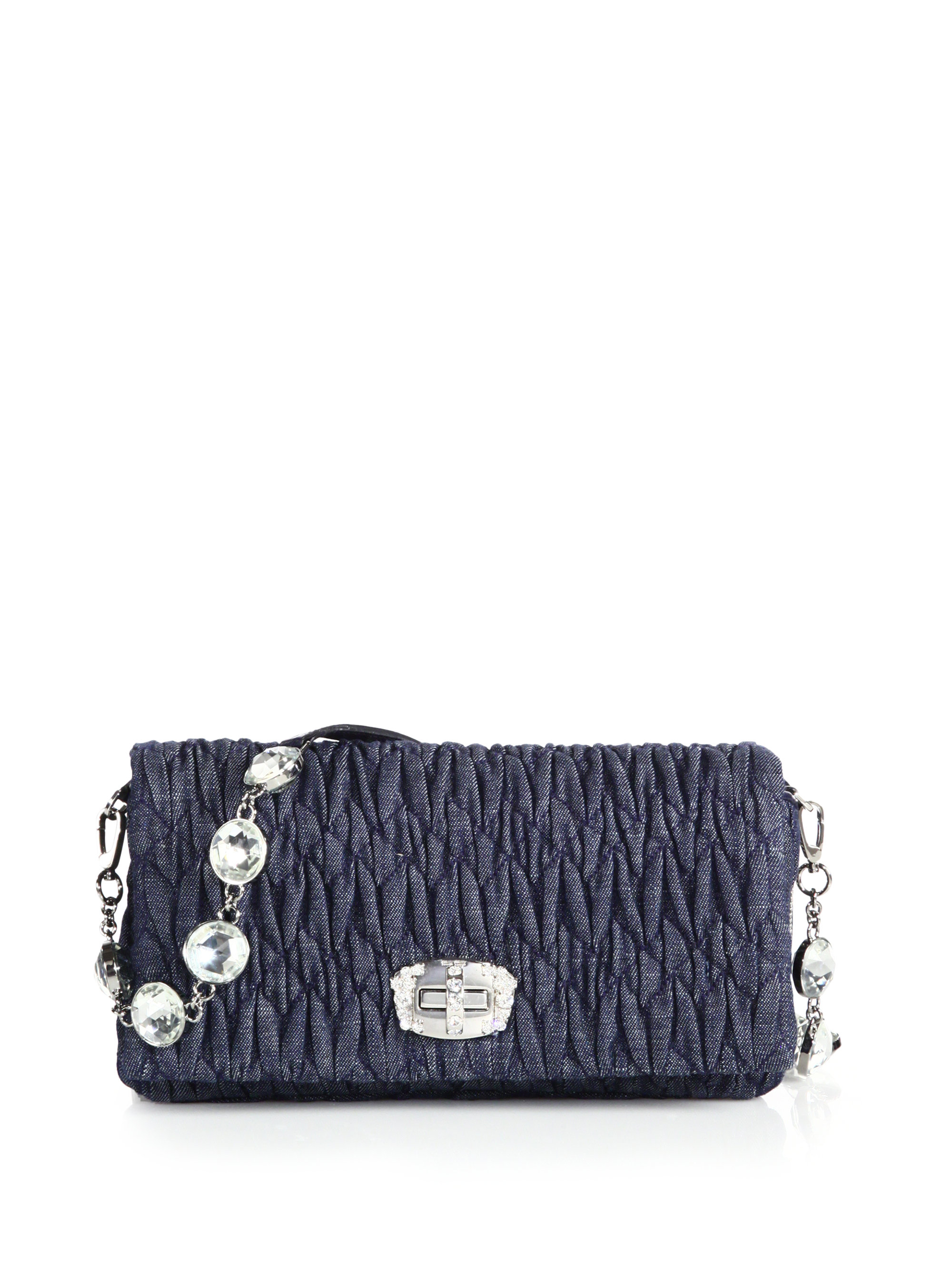 f3720f8312c Miu miu Woven Leather Chain Strap Bag in Blue