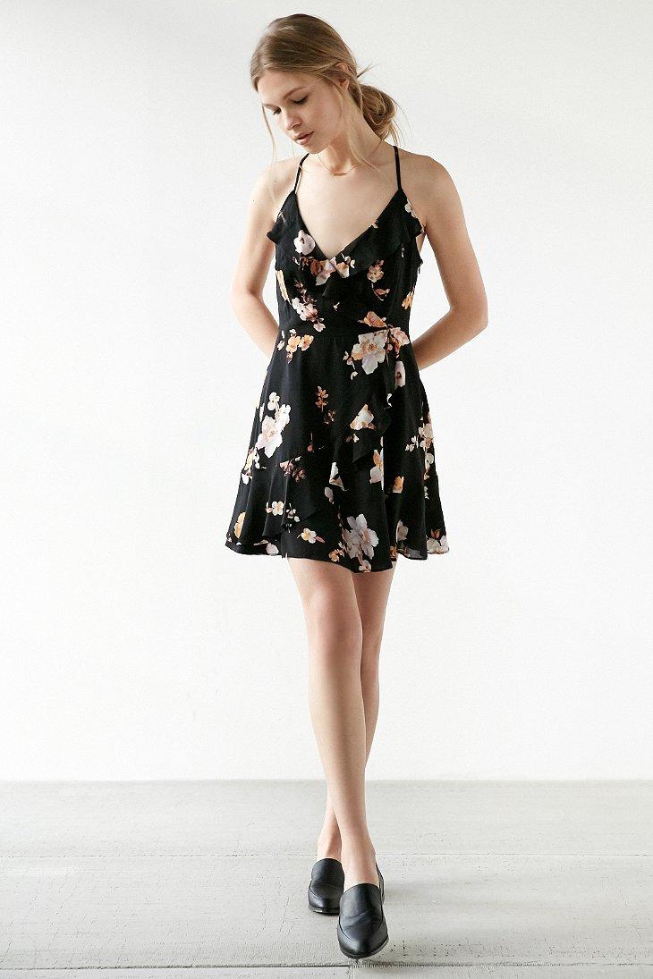 Lyst Kimchi Blue Sabina Ruffle Wrap Mini Dress In Pink