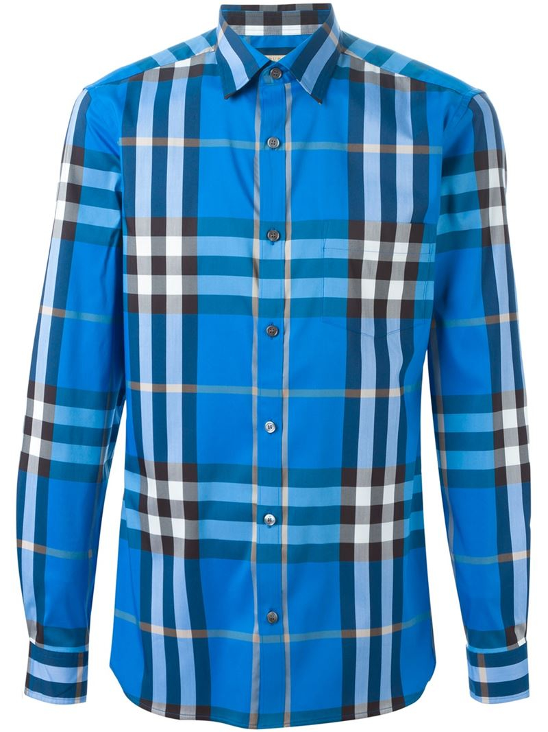 Burberry brit checked shirt in blue for men lyst for Burberry brit checked shirt