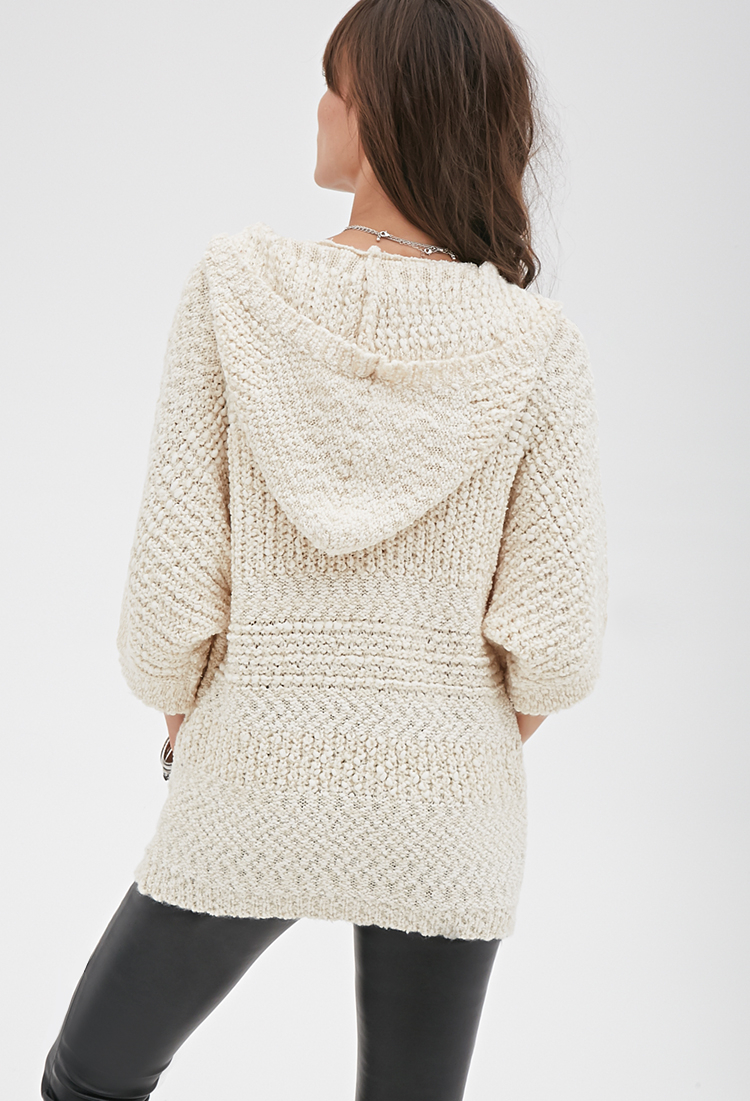 Forever 21 Hooded Popcorn Knit Sweater in Natural | Lyst