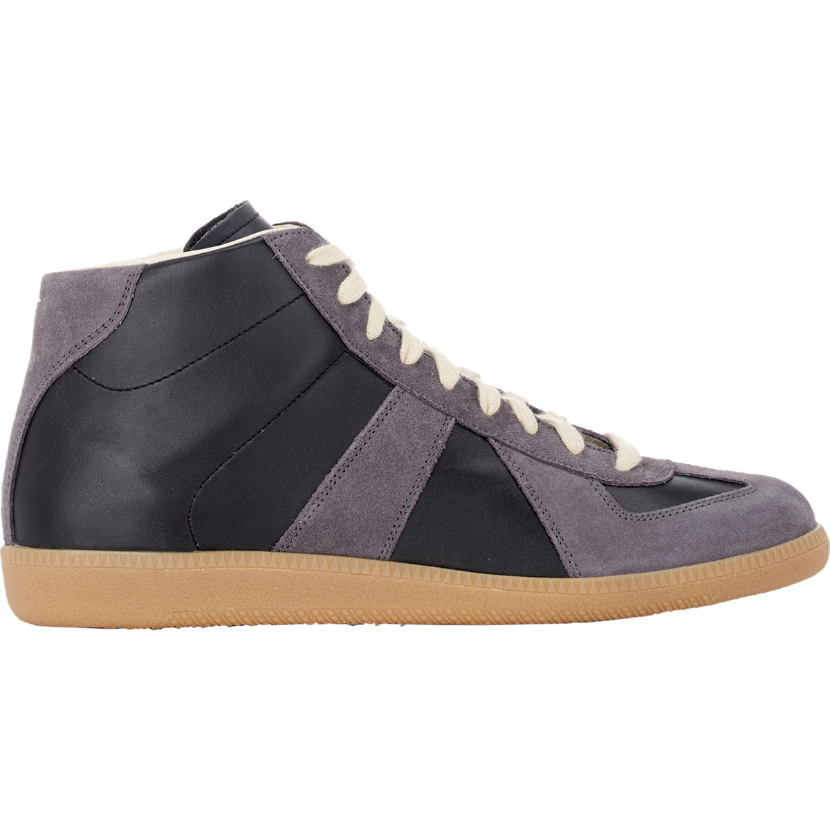 maison margiela mid top sneakers in black for lyst