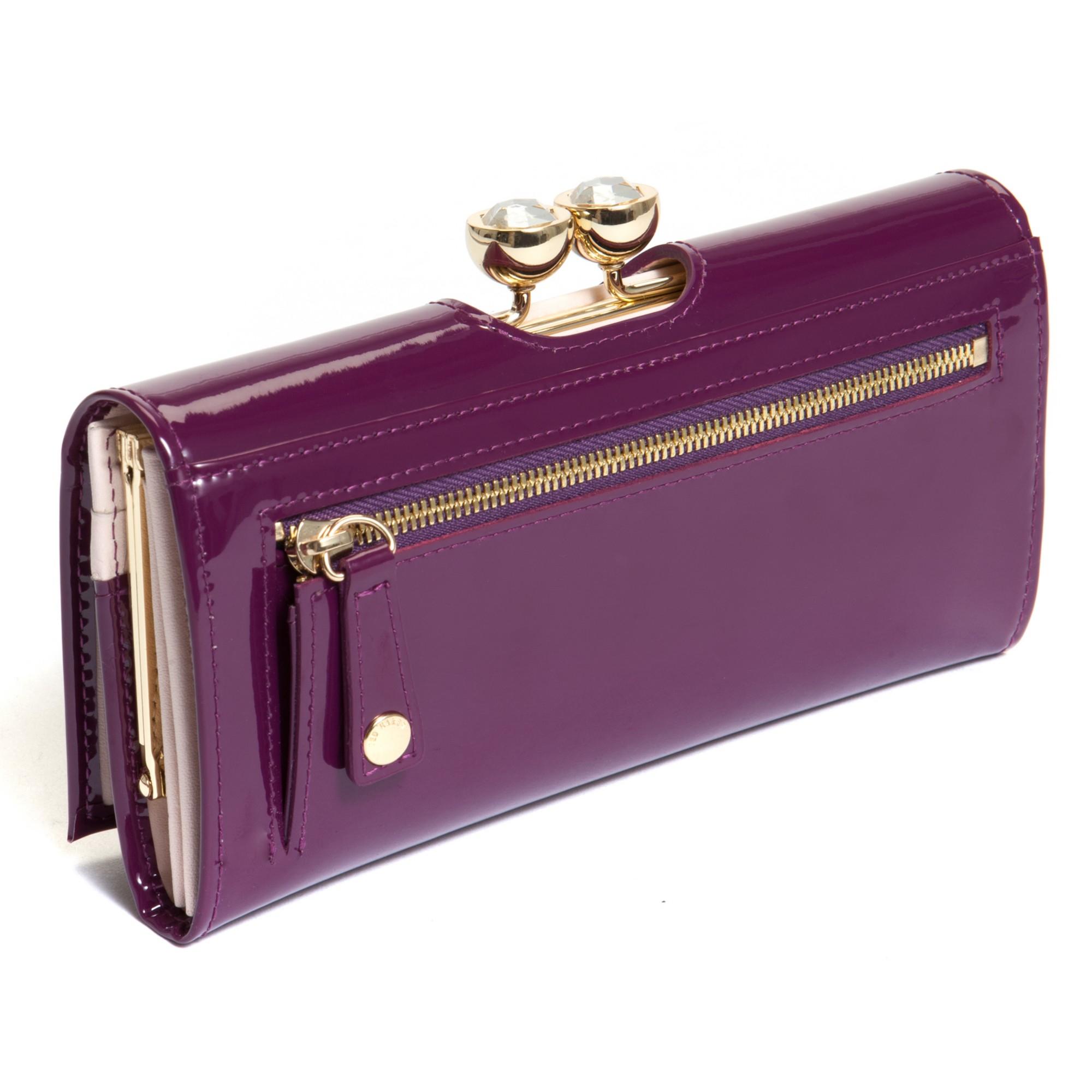 027c3b2e5b46 Ted Baker Kassady Crystal Bobble Leather Matinee Purse in Purple - Lyst