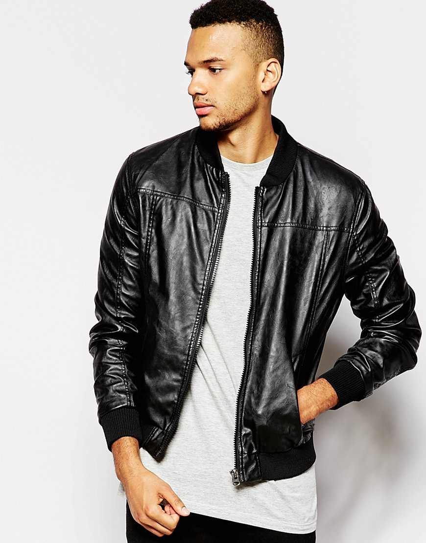 Barneys originals Barneys Faux Leather Bomber Jacket - Black in ...