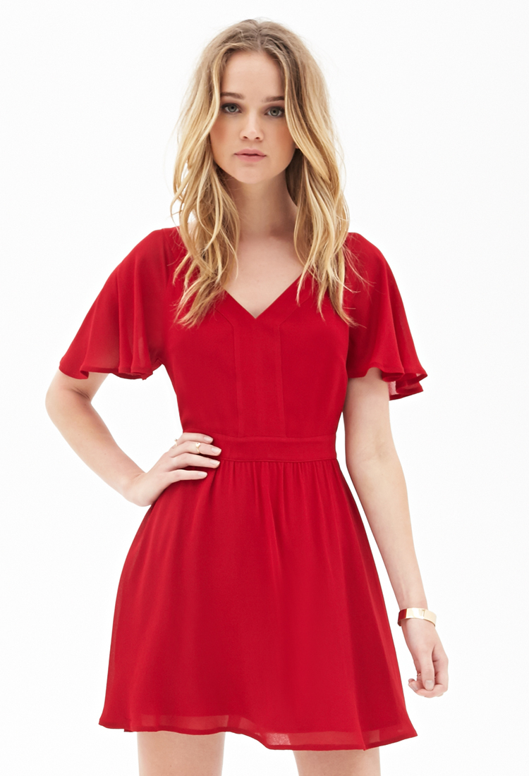 Wedding Flutter Sleeve Dress forever 21 cutout flutter sleeve dress youve been added to the gallery
