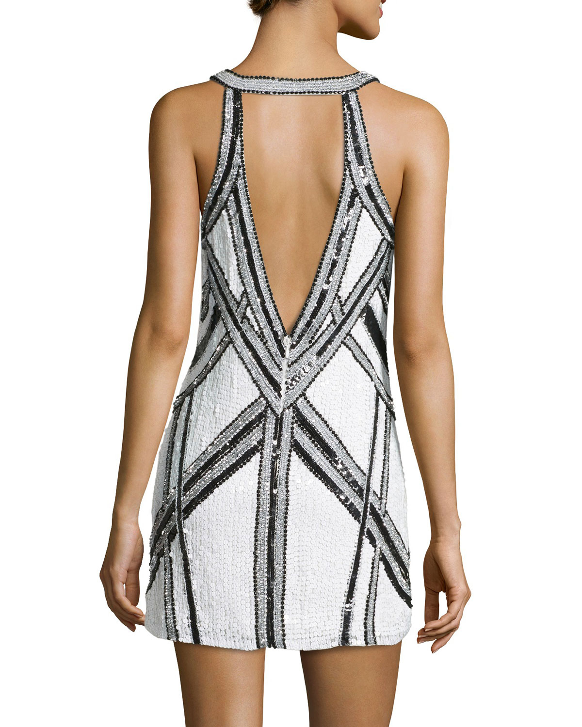 Parker black and white sequin dress