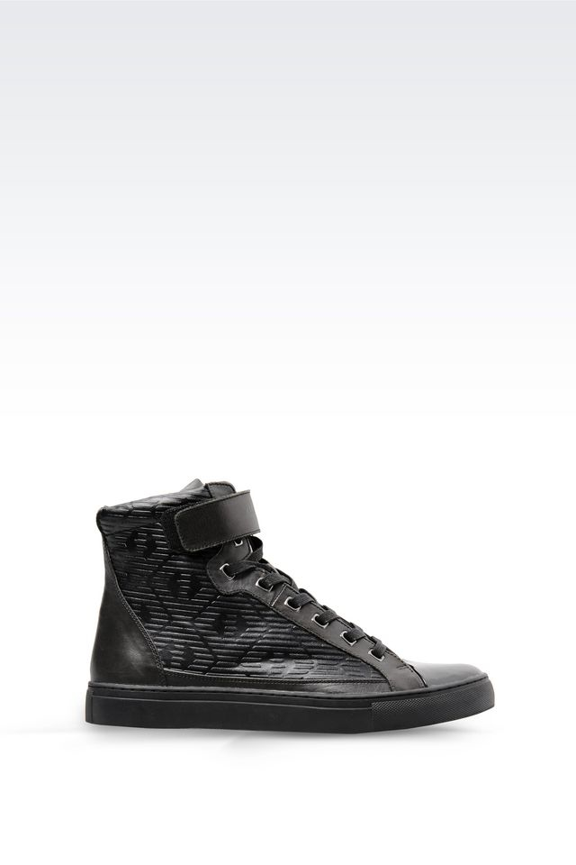 armani jeans high top sneaker in leather and patent in. Black Bedroom Furniture Sets. Home Design Ideas
