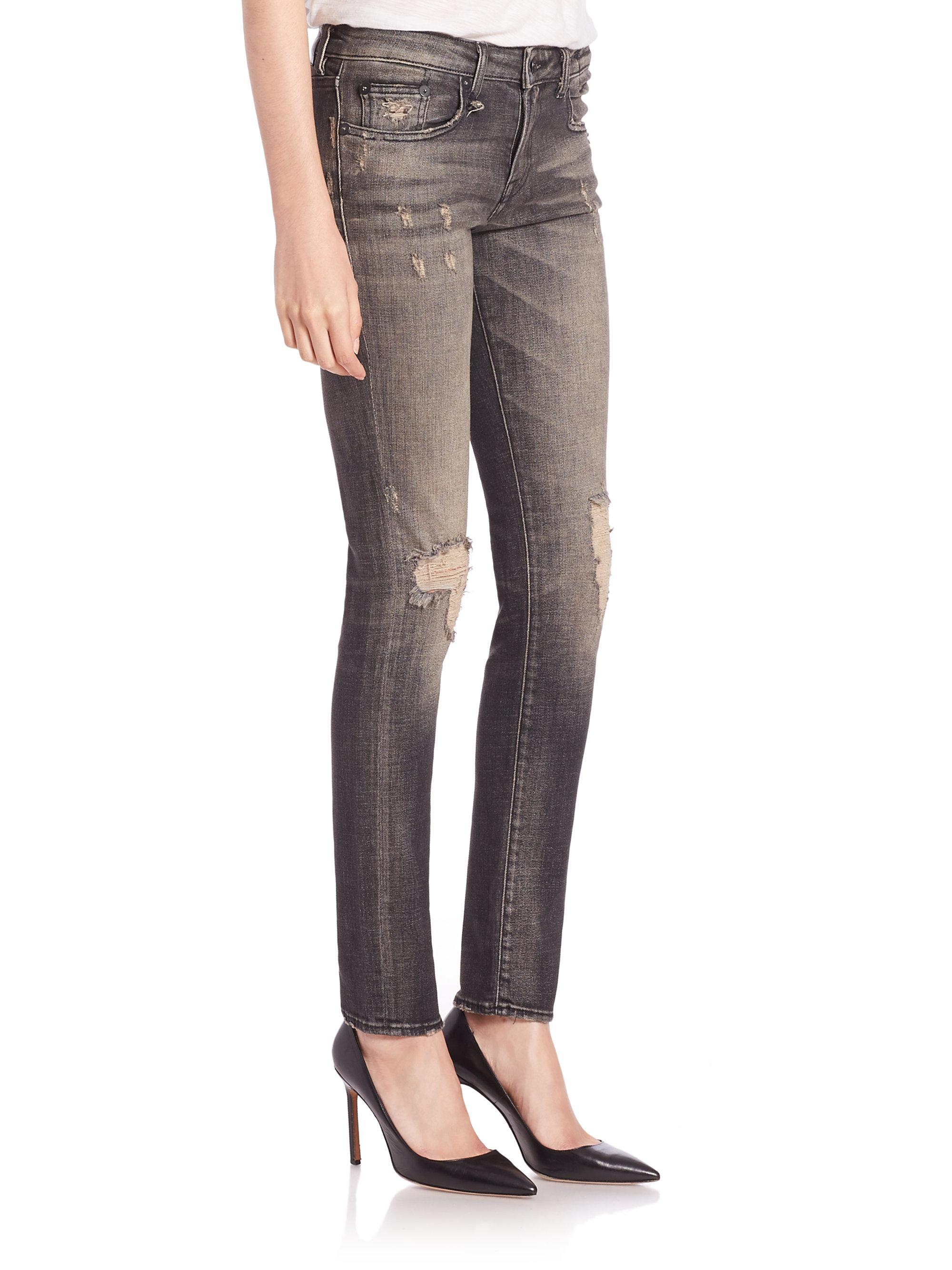R13 Alison Distressed Skinny Jeans in Black | Lyst