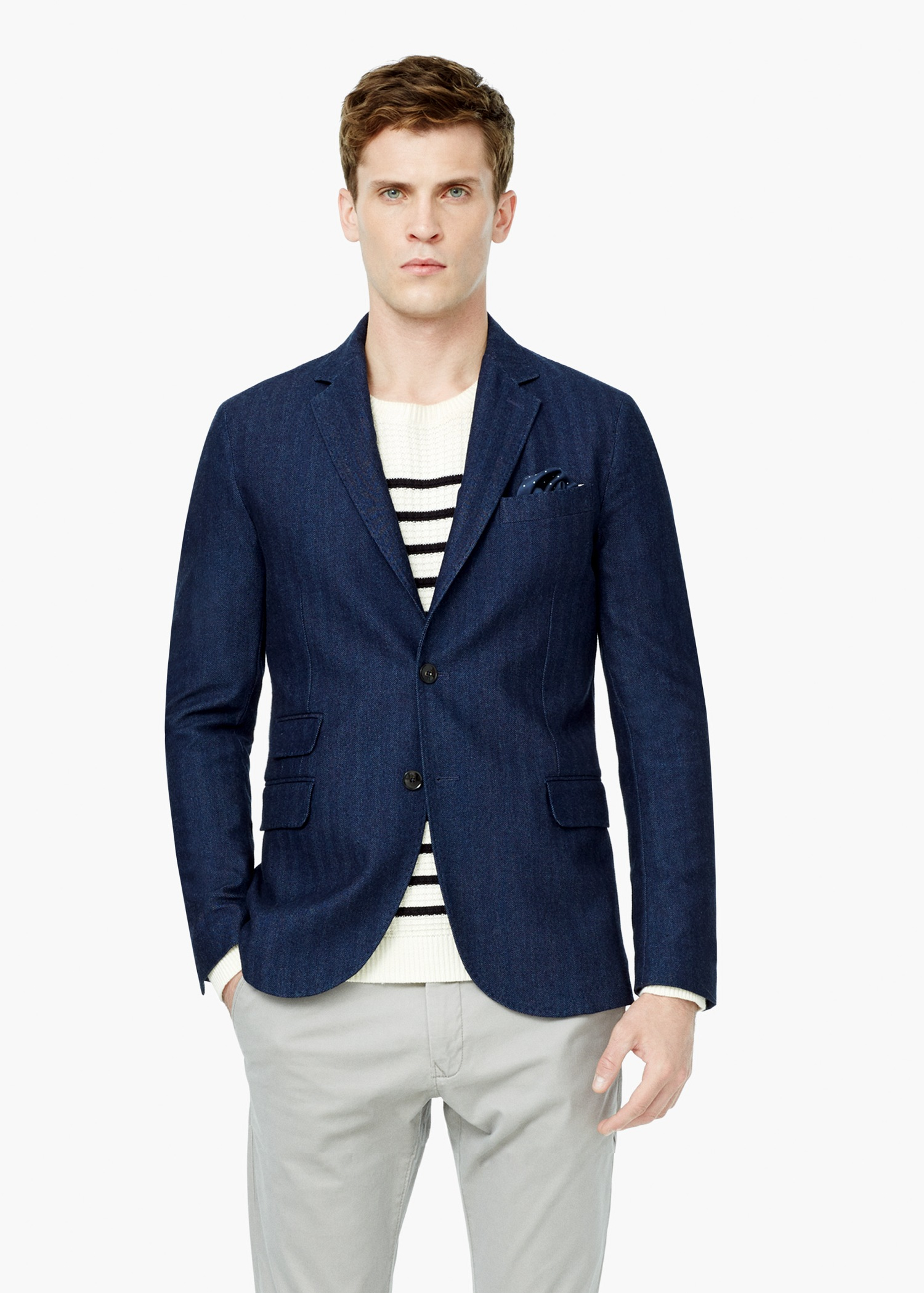 Mens Blue Cotton Blazer Hardon Clothes