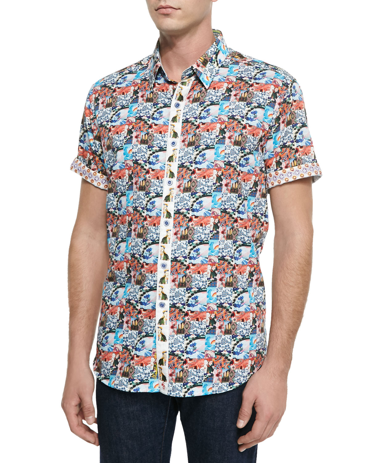 Lyst robert graham wave runner graphic sport shirt in for Where are robert graham shirts made