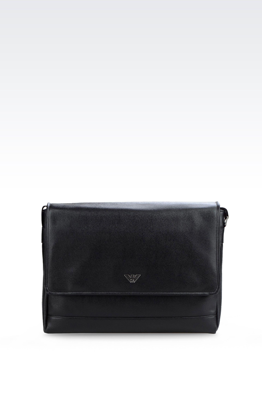 2ec0040d1f11 Lyst - Emporio Armani Messenger Bag In Saffiano Calfskin in Black for Men