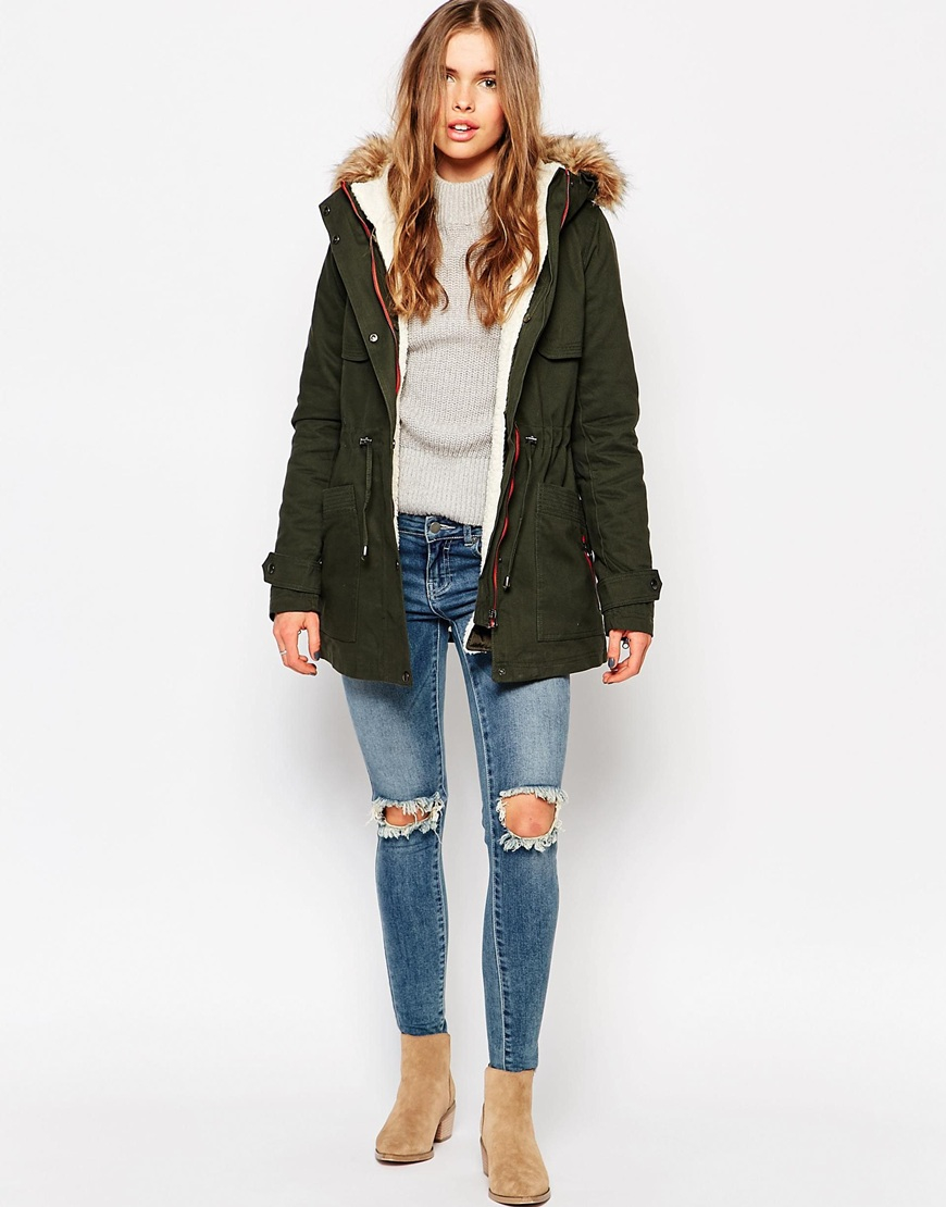 Vero moda Parka With Faux Fur Hood & Drawstring Waist in Green | Lyst
