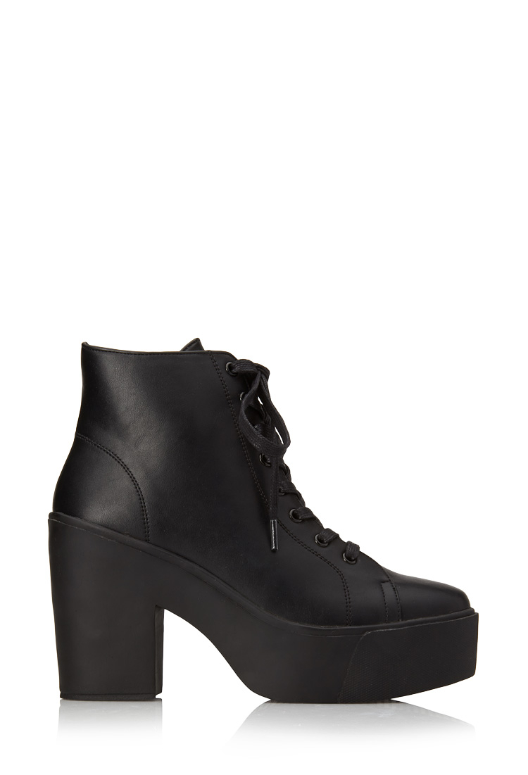 Forever 21 Bold Faux Leather Booties In Black | Lyst