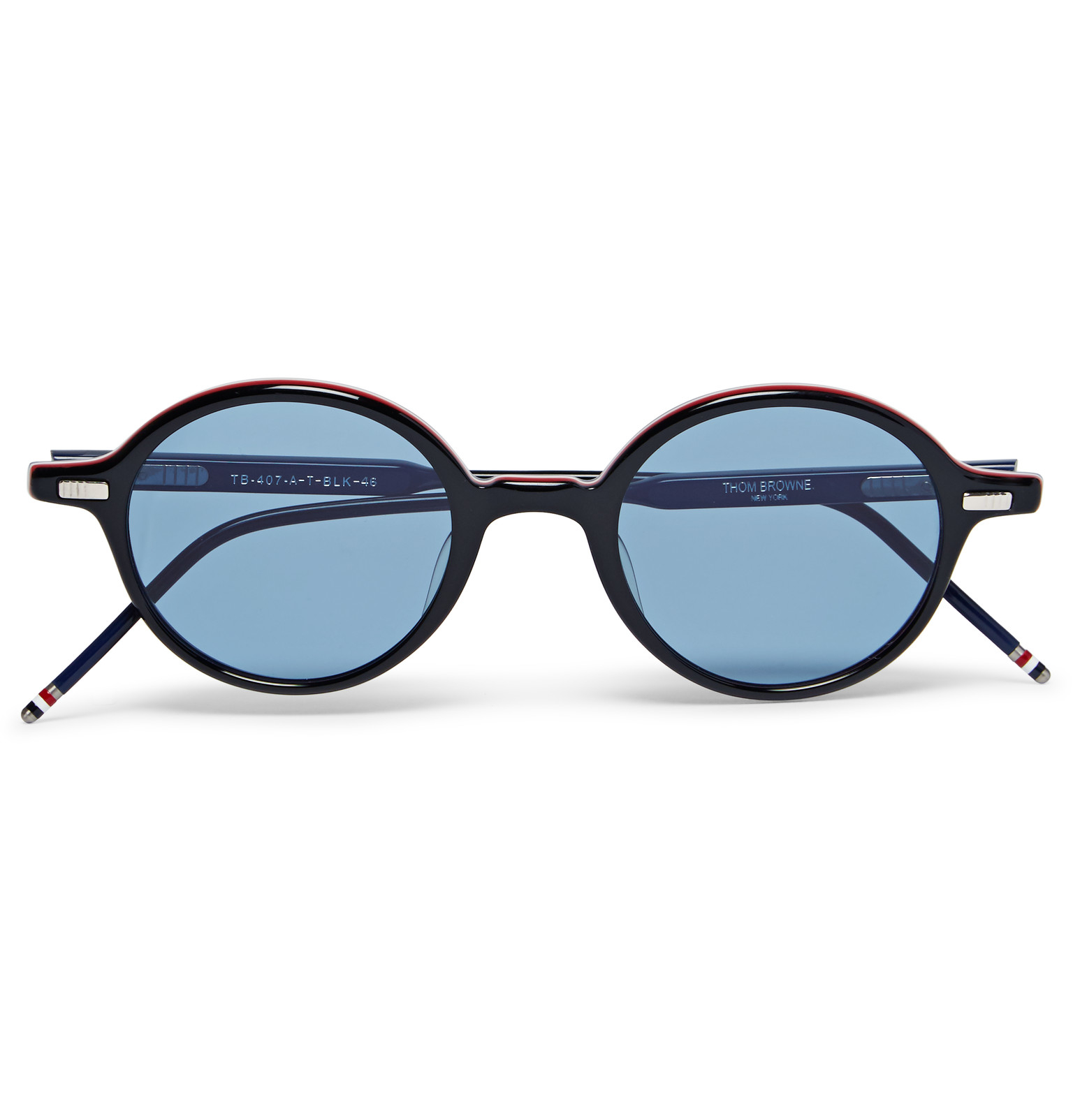 a780f9568cf Thom Browne Round-frame Striped Acetate Sunglasses in Black for Men ...