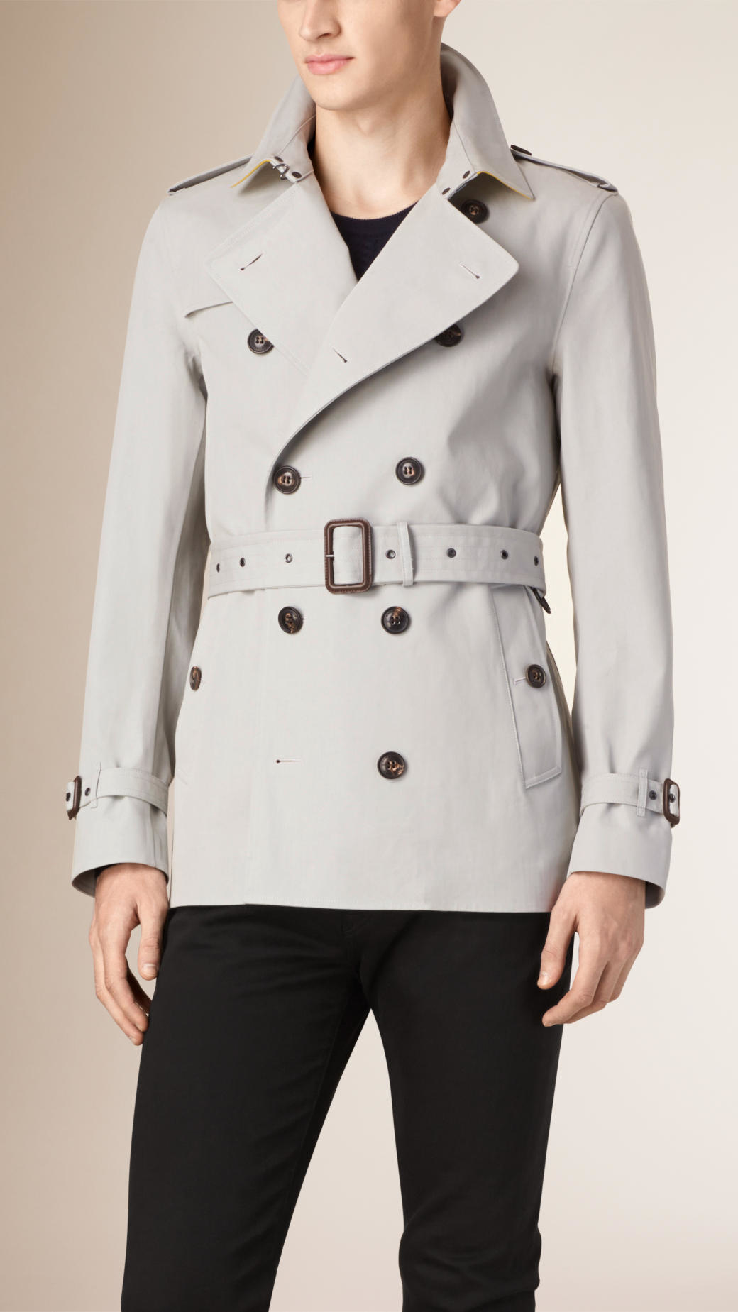 burberry cotton trench coat in gray for men lyst