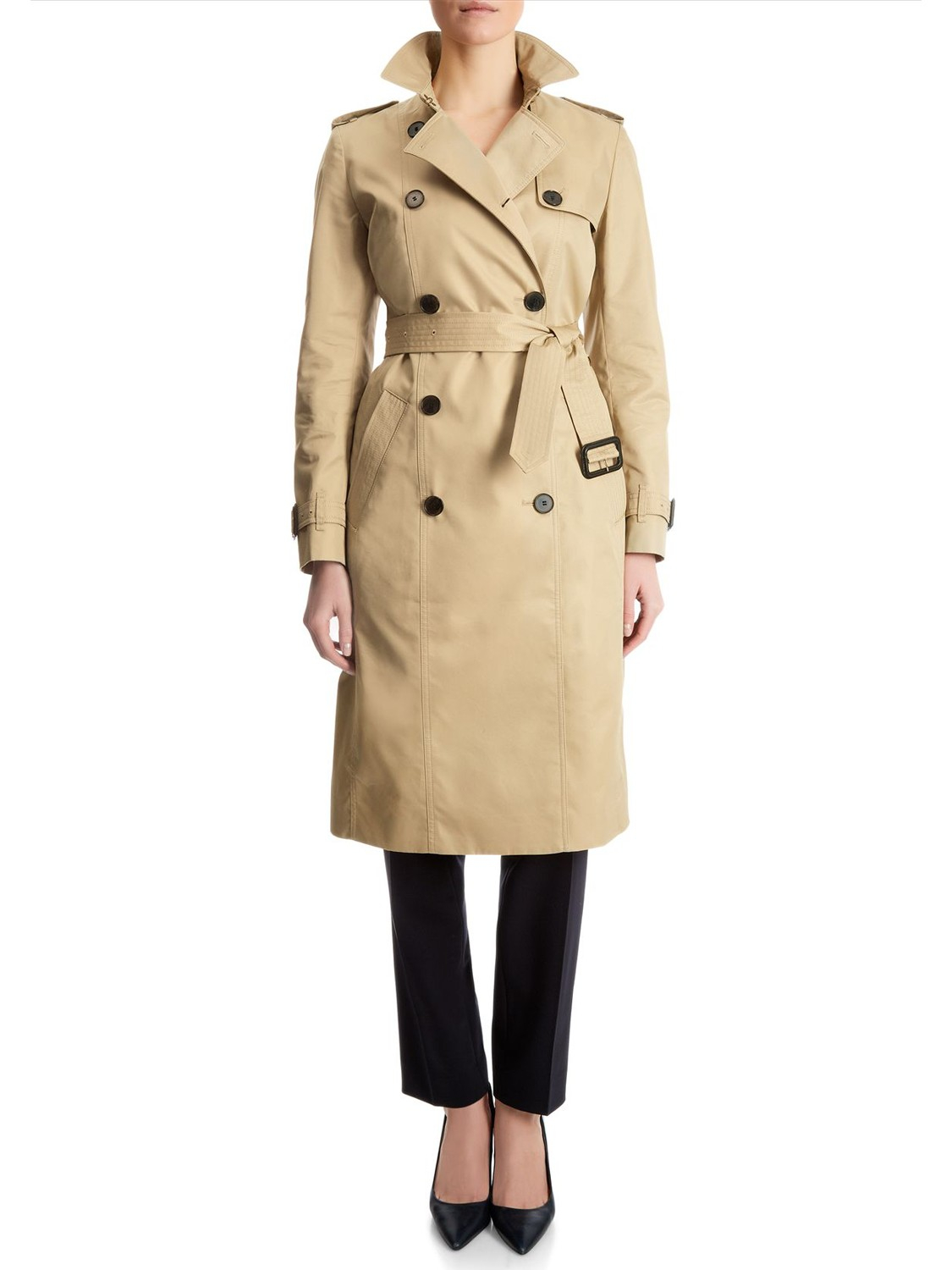 Jaeger Double Breasted Trench Coat in Natural   Lyst