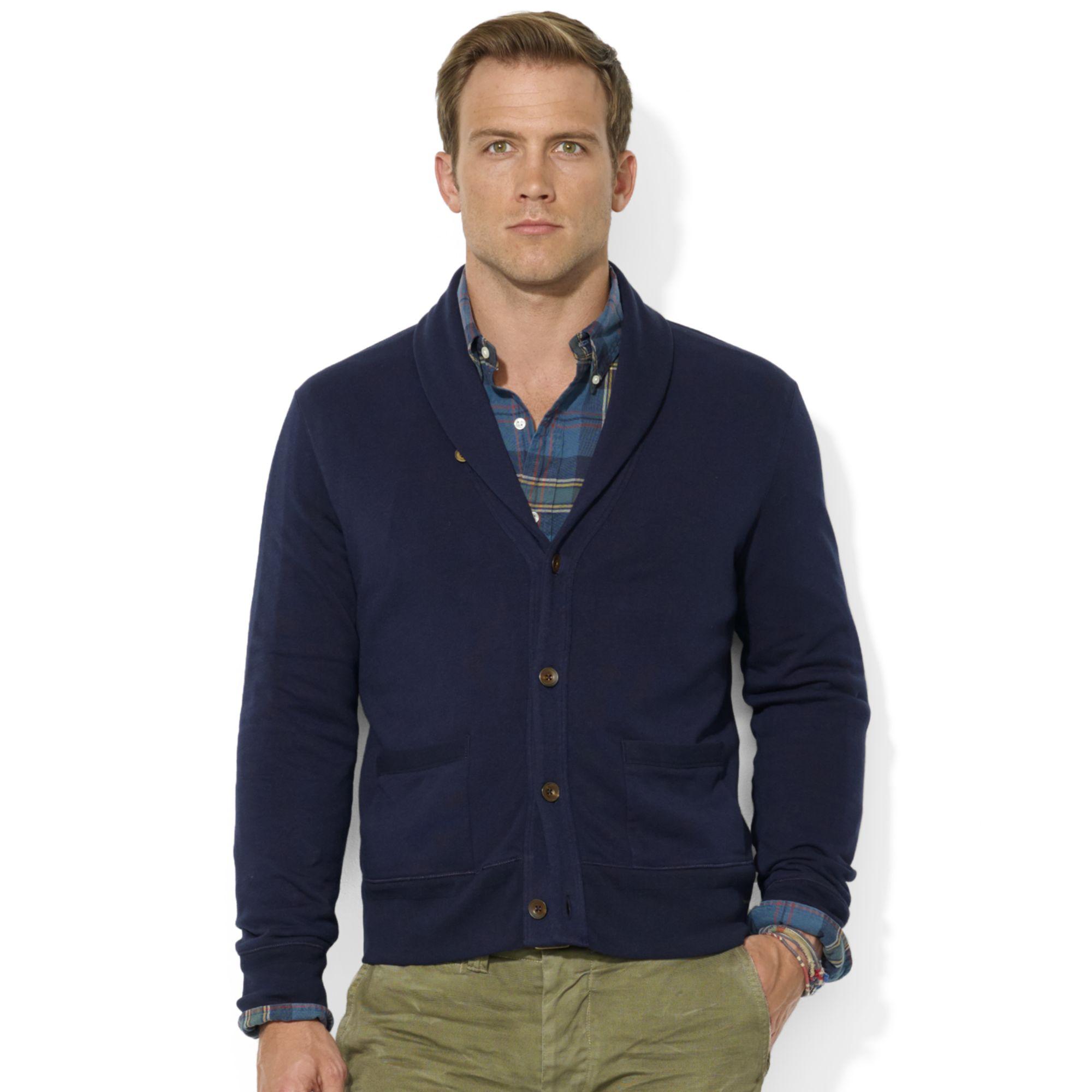 Ralph lauren Shawl Collar Fleece Cardigan in Blue for Men | Lyst
