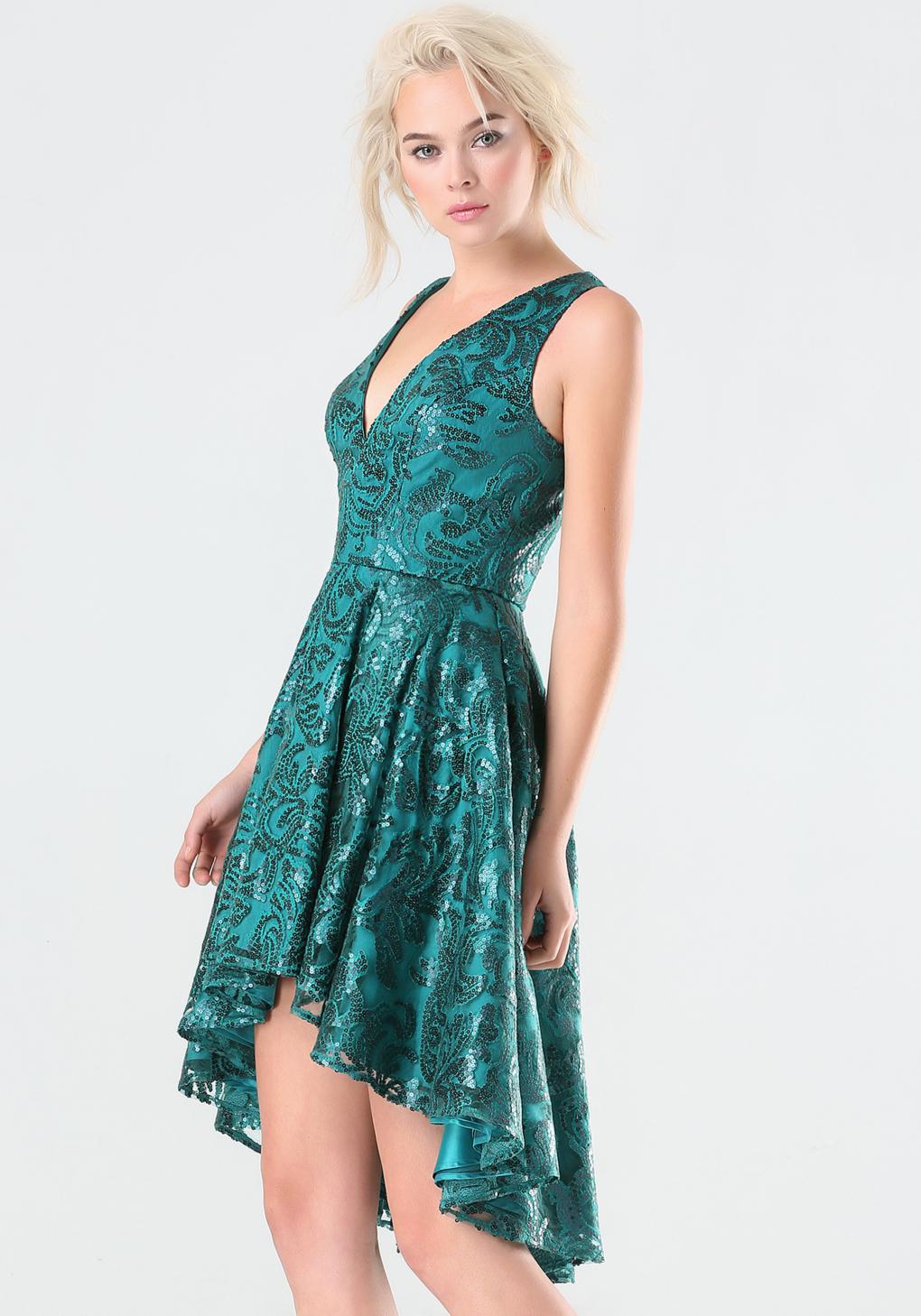 Lyst - Bebe Sequin Hi-lo Dress in Green