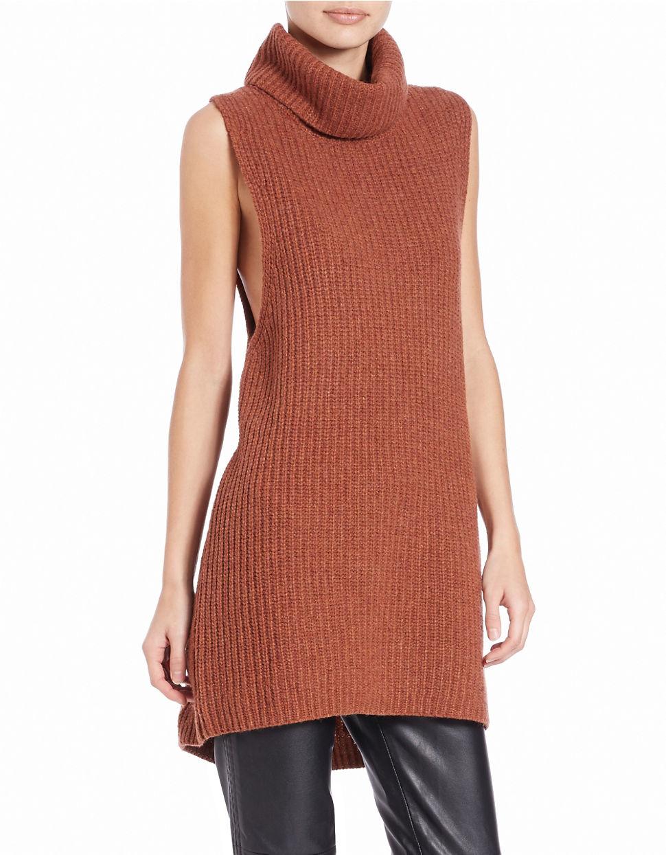 Free people Split-back Sleeveless Sweater in Brown   Lyst