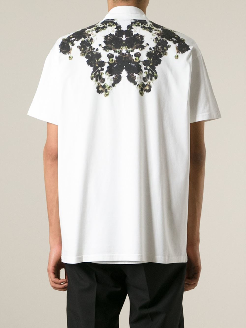 Givenchy floral boxy t shirt in white for men lyst for Givenchy t shirt man
