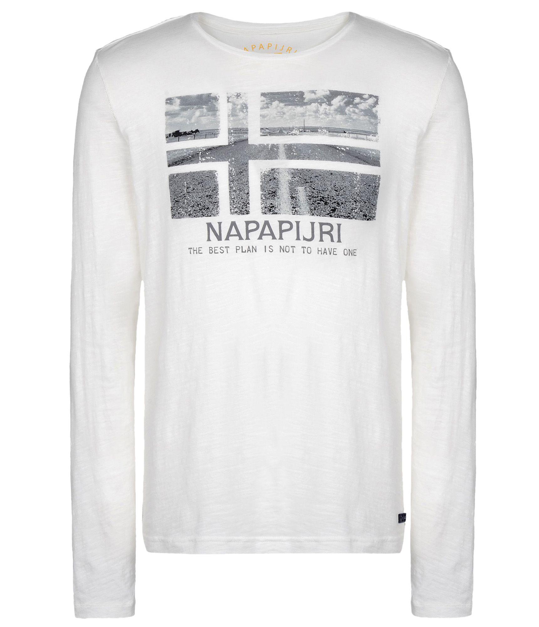 napapijri long sleeve t shirt in white for men lyst. Black Bedroom Furniture Sets. Home Design Ideas