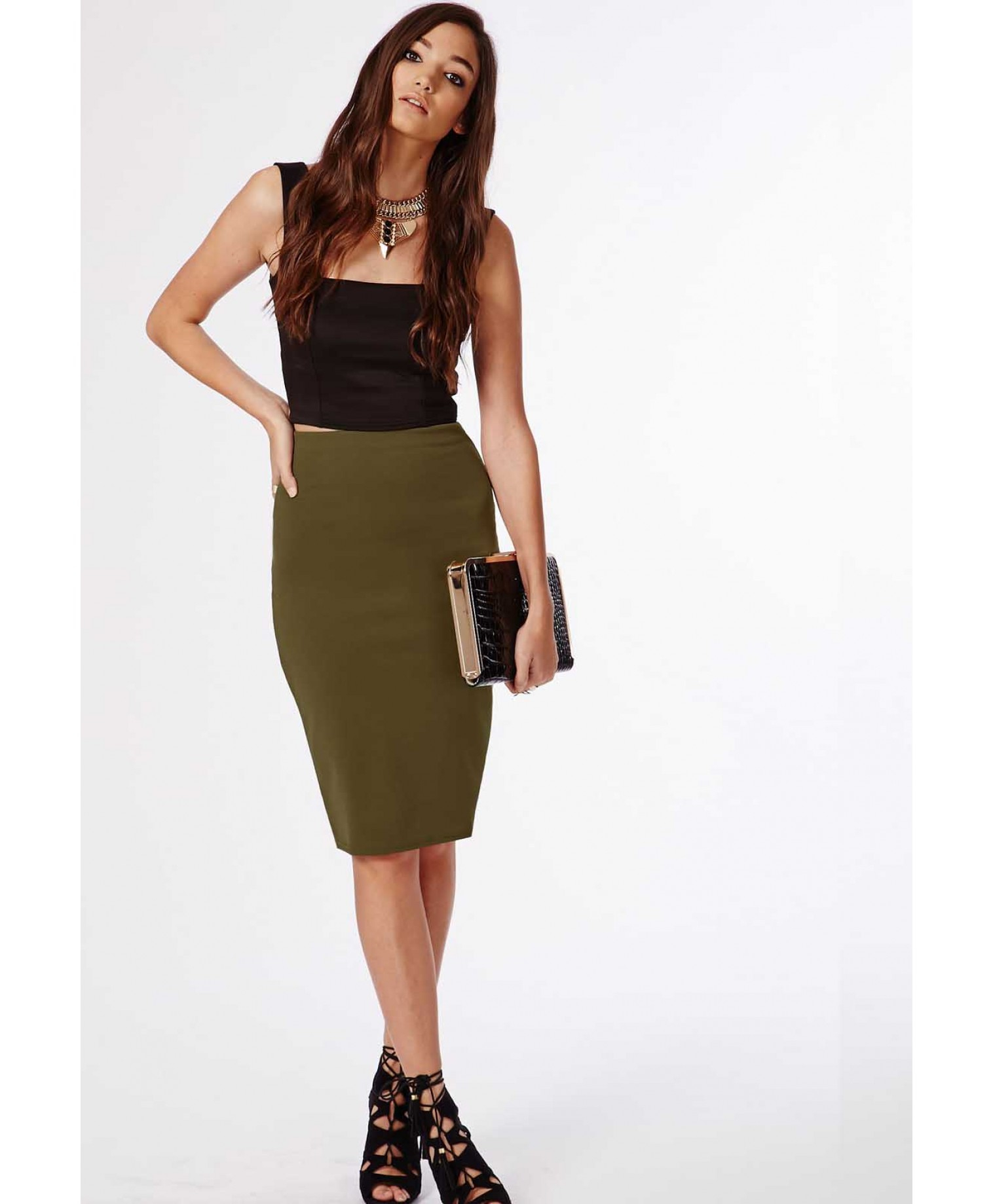 Missguided Candace Scuba Midi Skirt Khaki in Natural | Lyst