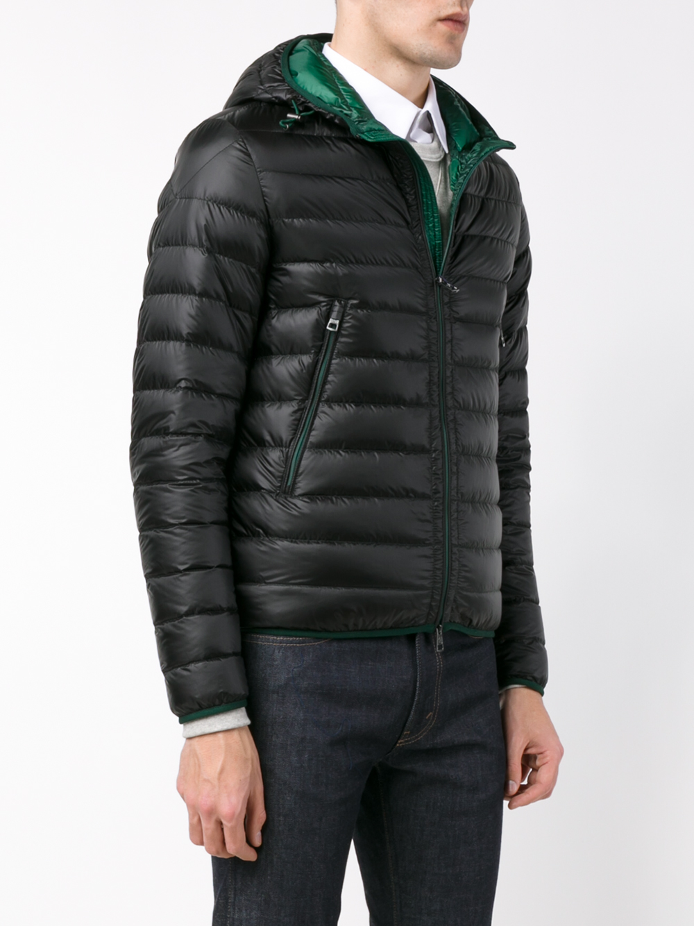 Moncler Quilted Feather Down Jacket in Black for Men | Lyst
