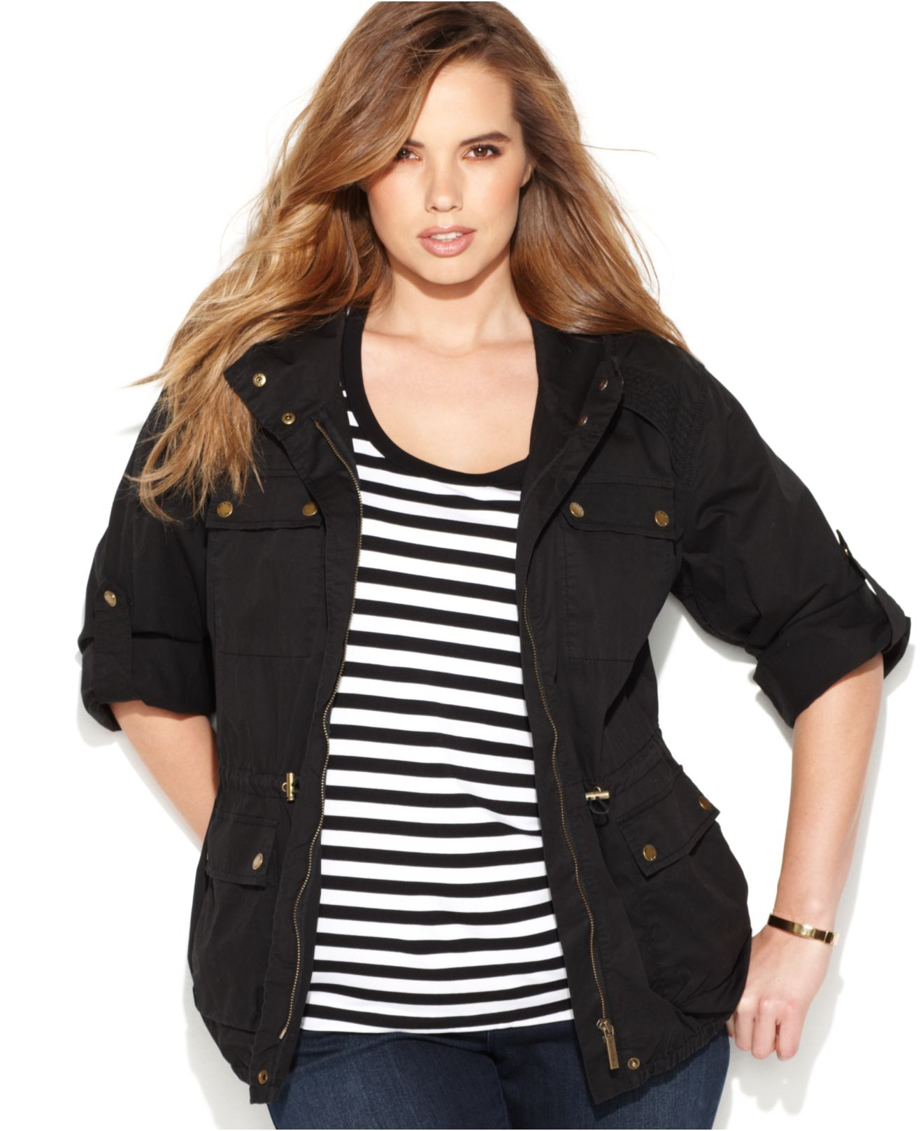 michael kors michael plus size anorak jacket in black | lyst